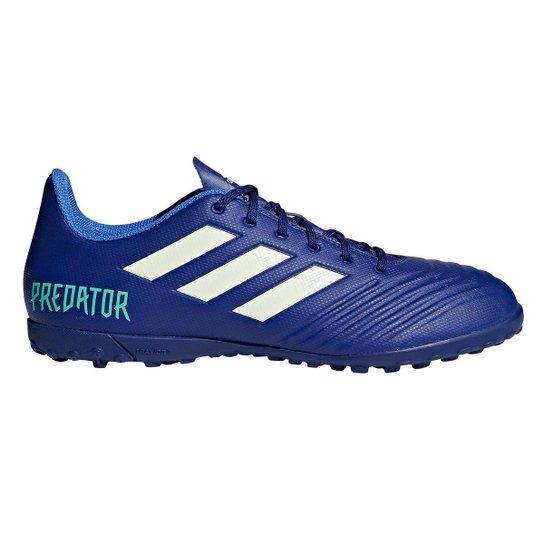 23d6892c8a Chuteira Society Adidas Predator 18.4 TF - Azul e Verde - Compre ...