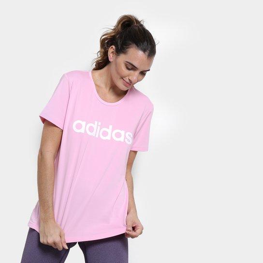 e738b6fe5d Camiseta Adidas D2M Logo Feminina - Rosa | Netshoes