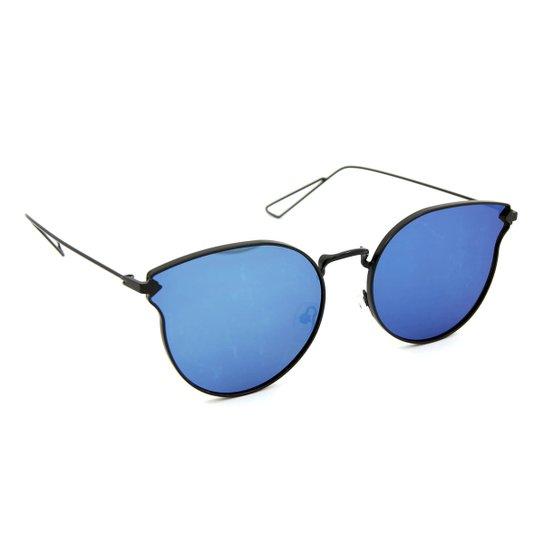 cdc281ecb Óculos Bijoulux de Sol com Lente Espelhada - Preto+Azul