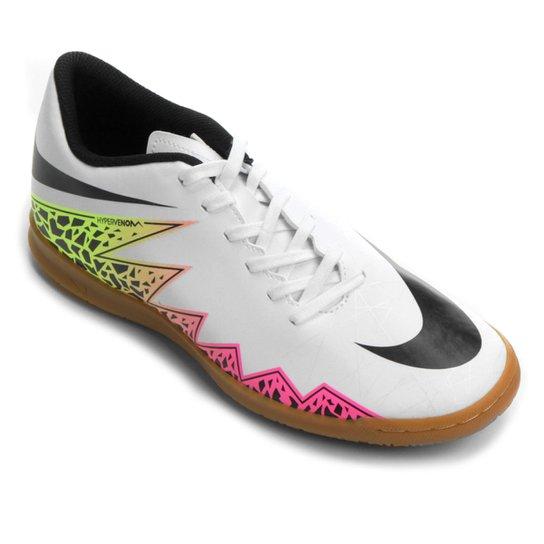 0710f4b092 Chuteira Futsal Nike Hypervenom Phade 2 IC - Branco+Laranja