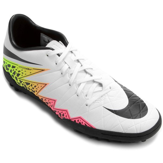 Chuteira Society Nike Hypervenom Phelon 2 TF - Branco+Laranja c6445e5490c03
