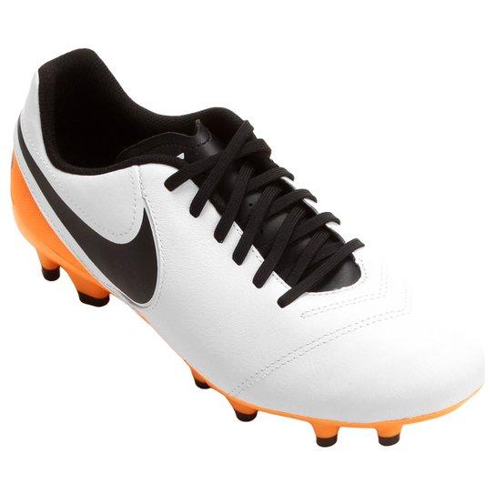 Chuteira Campo Nike Tiempo Genio 2 Leather FG - Branco+Laranja cb9c1137a7631