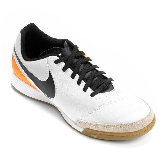 Chuteira Futsal Nike Tiempo Genio 2 Leather IC Masculina - Branco+Laranja c0be025eb0ff6