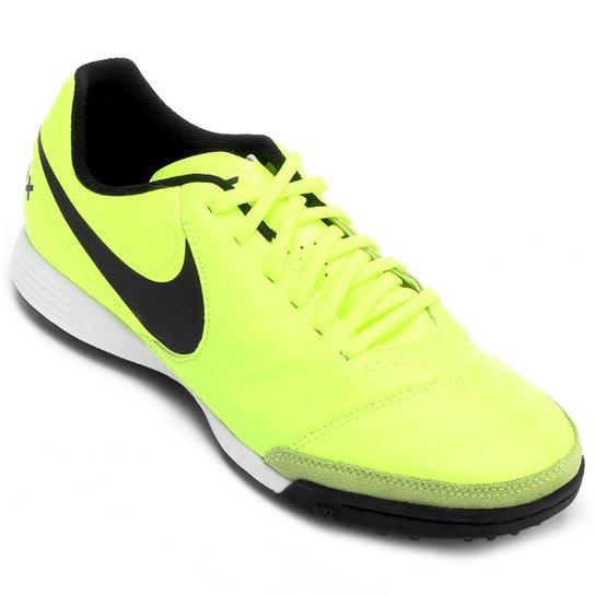 Chuteira Society Nike Tiempo Genio 2 Leather TF - Verde claro ... 14e84abd51da6