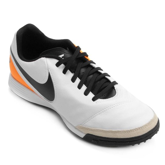 Chuteira Society Nike Tiempo Genio 2 Leather TF Masculina - Branco+Laranja d31d059d3033c