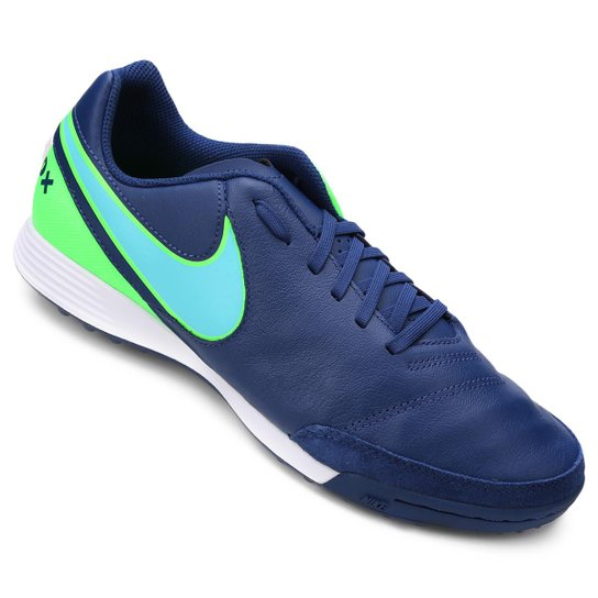 Chuteira Society Nike Tiempo Genio 2 Leather TF - Azul e Verde ... 24285de04af77