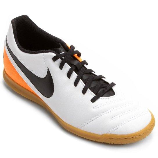 Chuteira Futsal Nike Tiempo Rio 3 IC - Branco+Laranja b29df6533a772