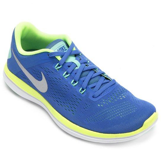 feb7cf2660 Tênis Nike Flex 2016 RN Feminino - Azul+Verde Limão