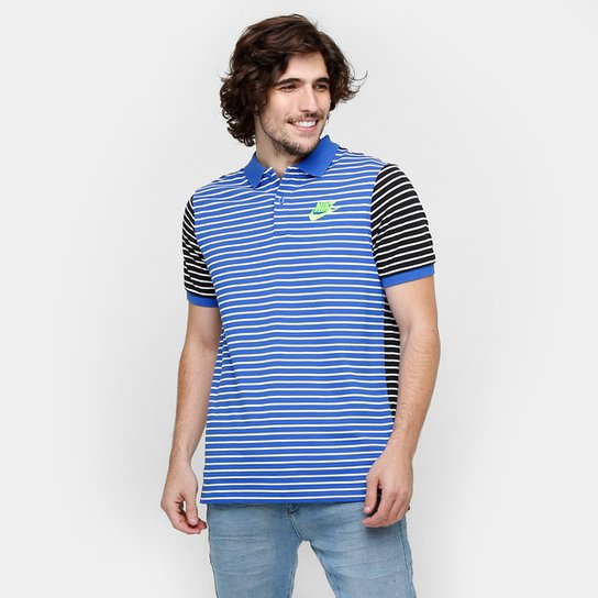 Camisa Polo Nike Nsw Pq Strp Mni Mchp - Azul+Preto ... a9c710847ec1c