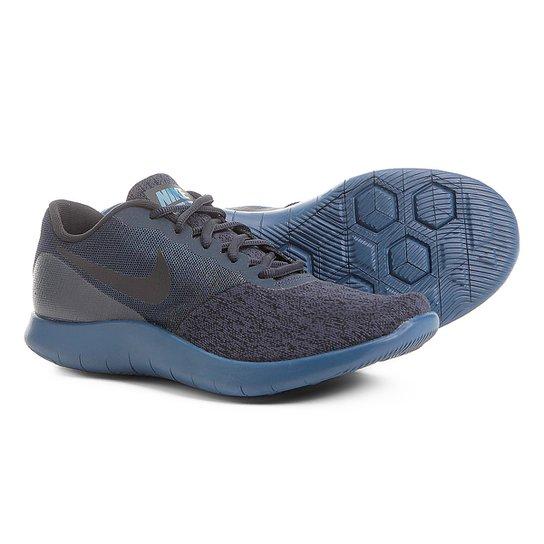e3c2f458b Tênis Nike Flex Contact Feminino - Preto e Azul - Compre Agora ...