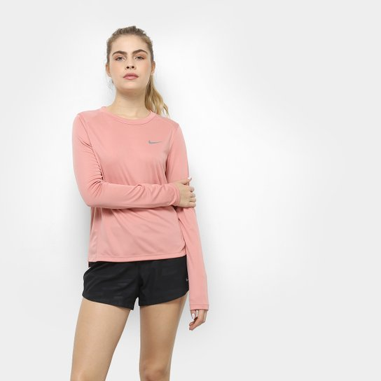 Camiseta Nike Miler Manga Longa Feminina - Rosa - Compre Agora ... 341f4ace5676f