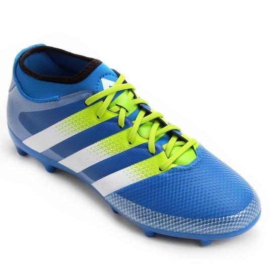 Chuteira Campo Adidas Ace 16.3 Primemesh FG - Azul Turquesa+Verde Limão 75f97e14a19dd
