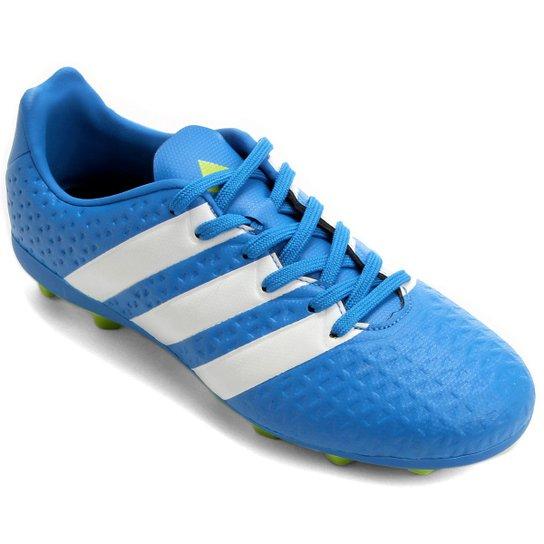 Chuteira Adidas Ace 16.4 FXG Campo Juvenil - Azul Turquesa+Verde Limão ab82368671c5e