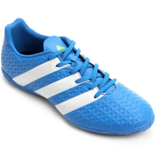 844dd2c0a6 Chuteira Futsal Adidas Ace 16.4 IN Masculina - Azul Claro e Branco ...