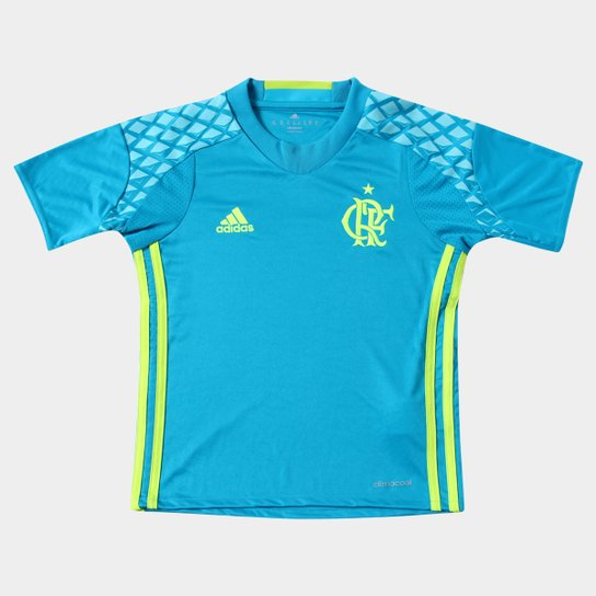 9cb2994768 Camisa Flamengo Infantil Goleiro 2016 s nº Torcedor Adidas - Azul  Piscina+Verde Limão