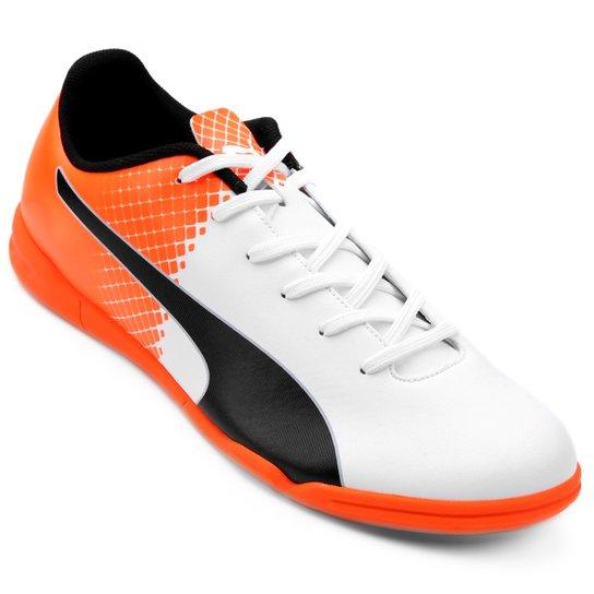 Chuteira Futsal Puma Evospeed 5.5 Tricks IT - Branco+Laranja 4788b33d2f598