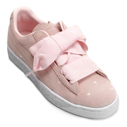 442db6b2018 Tênis Infantil Couro Puma Suede Heart Valentine Jr Feminino - Compre ...