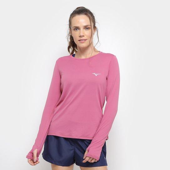 239de4bc63a6b Camiseta Mizuno Manga Longa Com Proteção UV Feminina - Rosa - Compre ...