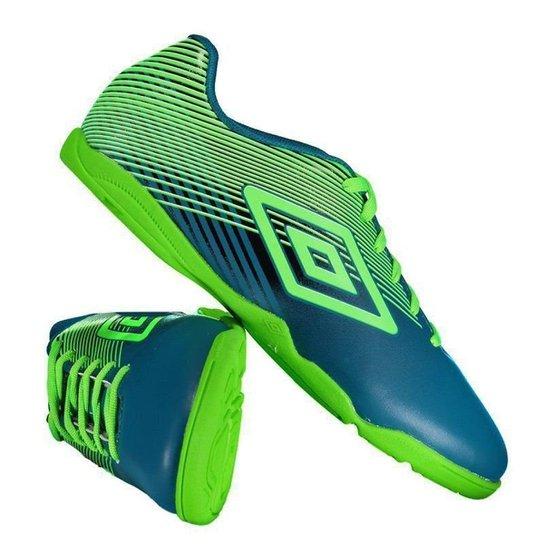 Chuteira Umbro Slice III Futsal Masculina - Azul e Verde - Compre ... 822d9267a9f3f