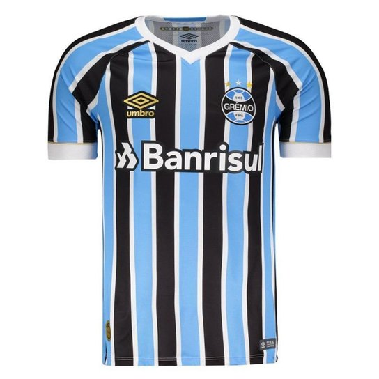 485320ab4eaeb Camisa Umbro Grêmio I 2018 N° 7 Masculina - Preto e Azul - Compre ...
