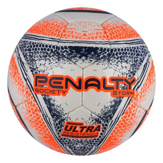 Bola De Futebol Penalty Society Storm Ultra Resistente - Branco+Laranja 9d71fd9ae2f74