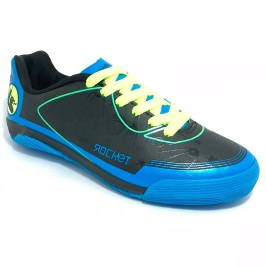 2ab54b01b0 Chuteira Penalty ATF Rocket VIII Futsal Infantil - Preto e Azul ...