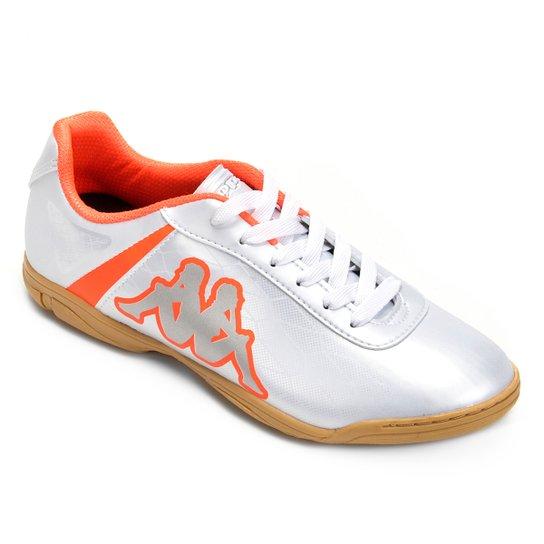 7f37895cd Chuteira Futsal Kappa Torpedo - Branco e Laranja