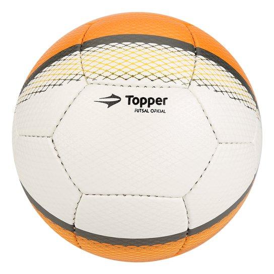 4f152f1df Bola Futebol Topper Trivela Futsal - Branco+Laranja
