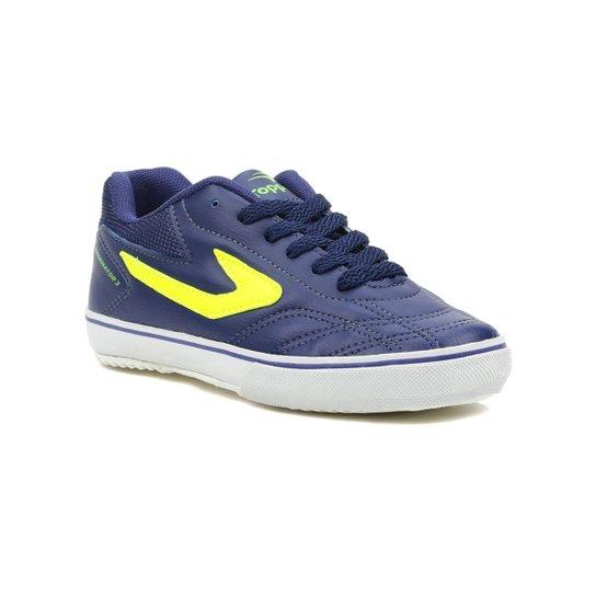 1b5809192dd Tênis Futsal Infantil Para Menino Topper Dominator Iii Jr Azul  marinho verde - Azul+
