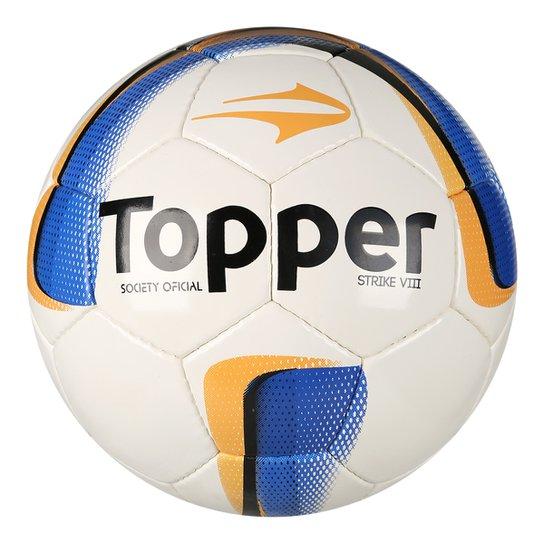 Bola Futebol Society Topper Strike VIII - Branco+Laranja ... af508644438df