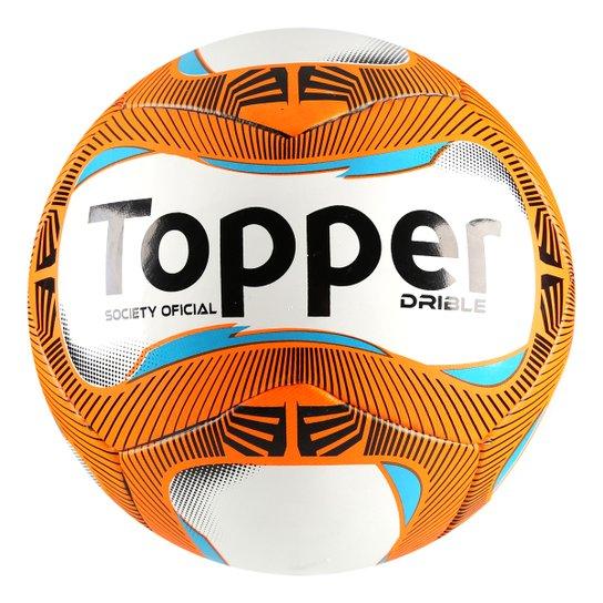 Bola Futebol Society Topper Drible - Branco e Laranja - Compre Agora ... 07426afb6d299