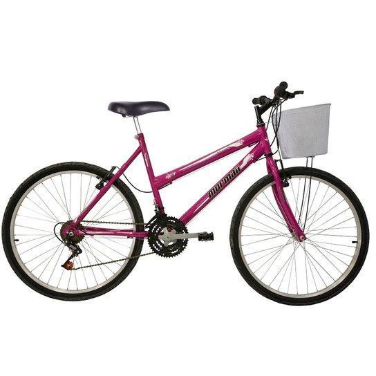 6110c916a Bicicleta Mountain Bike Mormaii Aro 26 Fantasy com Cesta - Rosa