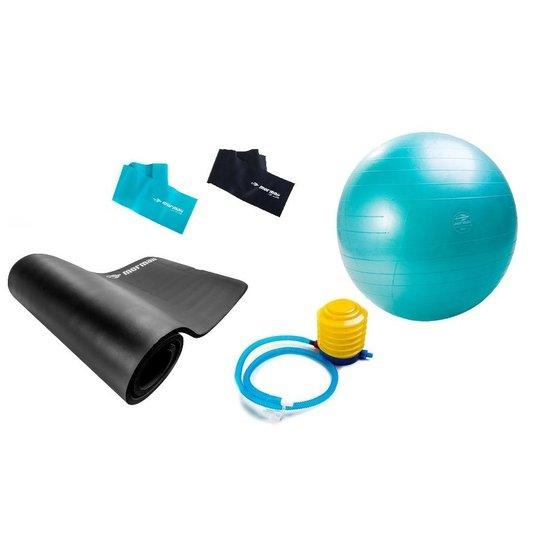 Kit Pilates Yoga Mormaii C  Bola Suíça + Flex Band + Colchonete - Preto+ 782e318a79110