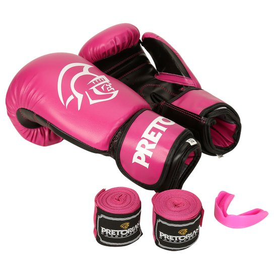 a07d1b1b5 Kit de Boxe Muay Thai Pretorian First 12OZ - Rosa
