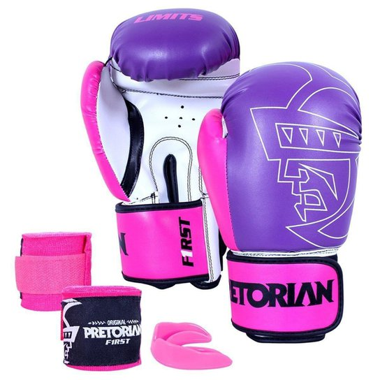 34472ec2e Kit Luva de Boxe  Muay Thai Pretorian First 12 Oz + Bandagem Elástica +  Bucal