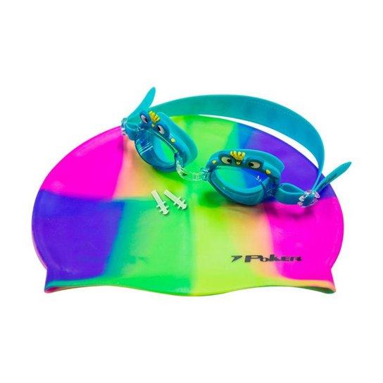 73cc4c413aede Kit Óculos + Touca + Protetor de Ouvido de Natação Infantil Poker Cartoons  - Azul+