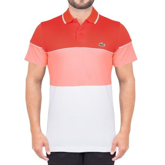 700da4d139f68 Camisa Lacoste Polo Fancy Golf - Branco+Laranja