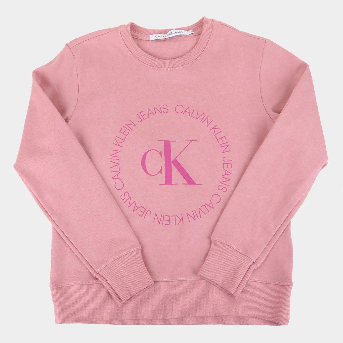 Moletom Juvenil Calvin Klein Básico Logo Feminino