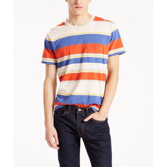 2bd316311f Camisa Orange Tab Pocket Levis - Branco+Laranja
