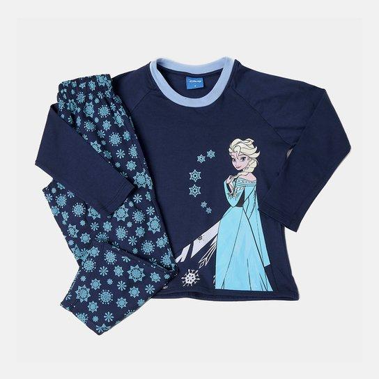 457ae8b9b14 Pijama Infantil Lupo Longo Frozen Elsa Feminino - Preto e Azul ...