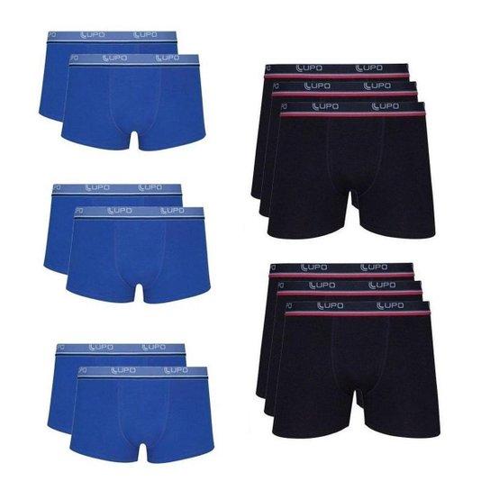 849368c32 Kit Cuecas Boxer Lupo 12 Peças - Preto e Azul - Compre Agora