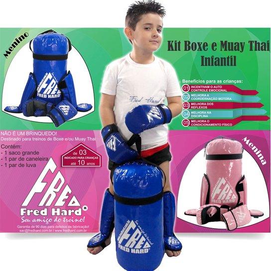 ec151d97f Kit Boxe e Muay Thai infantil Fred Hard - Saco + C - Rosa