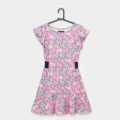 Vestido Infantil Gloss Manga Curta Em Jacquard Flamingos