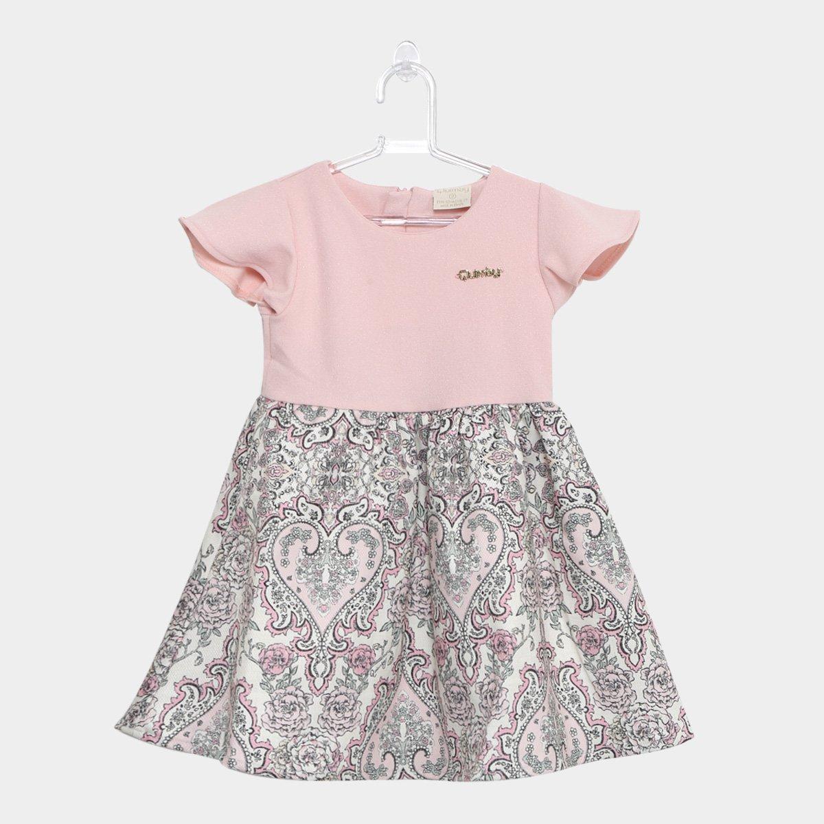 498f183159 Vestido Infantil Quimby Evasê Curto Estampado