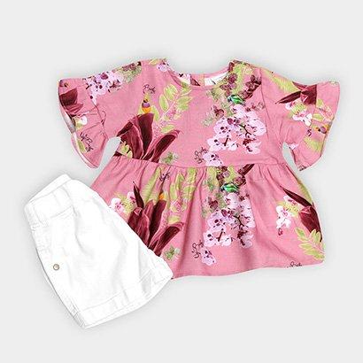 Conjunto Infantil Up Baby Floral Menina