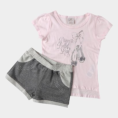Conjunto de Blusa + Short Moletom Infantil Up Baby Princess Feminino