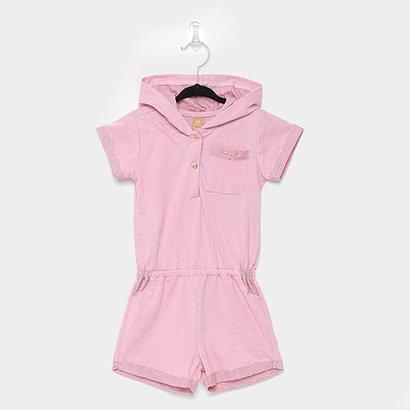 Macacão Infantil Up Baby Meia Malha Bolso Feminino