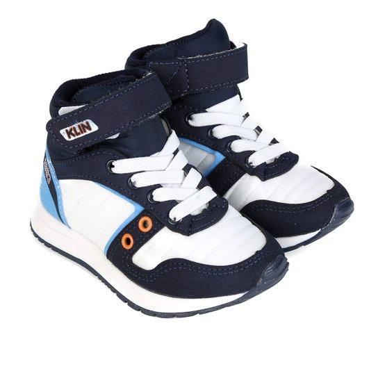a46db61b762d0 Tênis Infantil Cano Alto Klin Baby Walk Masculino - Branco+Laranja