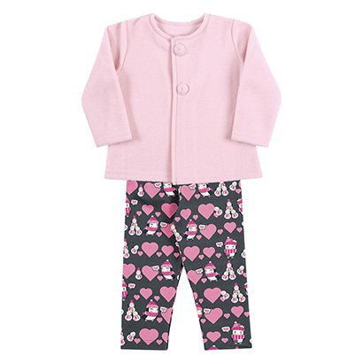 Conjunto Bebê Kamylus Casaco Soft + Calça Estampada Feminino