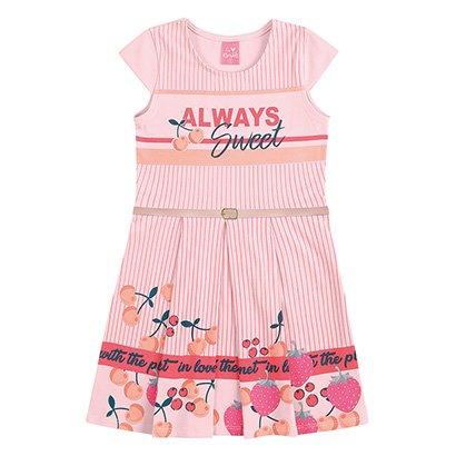 Vestido Infantil Kamylus Sweet Cereja Com Cinto